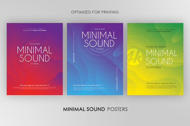 3 minimal sound flyers bundle Premium PSD