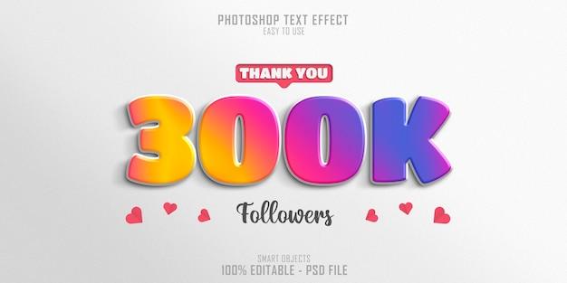 300k social media follower 3d-textstileffekt Premium PSD