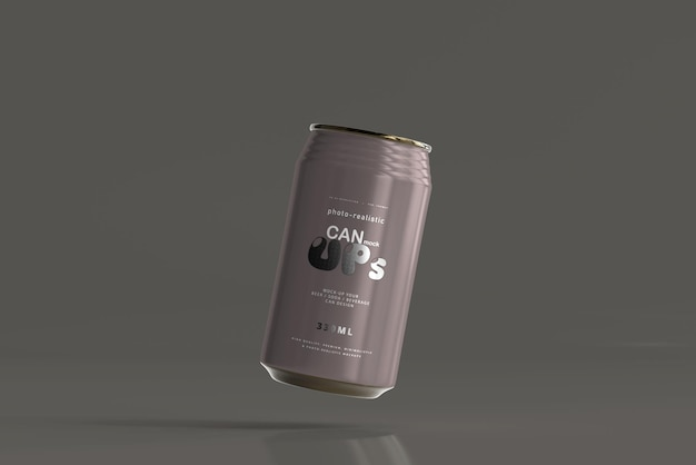 330ml standard soda can mockup Kostenlosen PSD