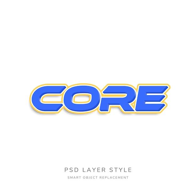 3d blue text style-effekt mit orange umriss Premium PSD