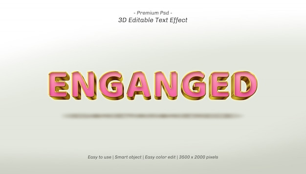 3d enganged editable text effect Premium PSD