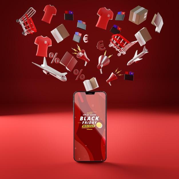 3d flugobjekte und handy-modell roten hintergrund Kostenlosen PSD