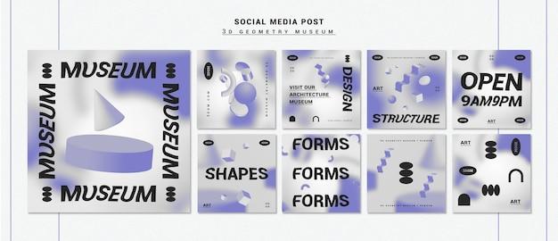 3d geometrische formen instagram post sammlung Kostenlosen PSD