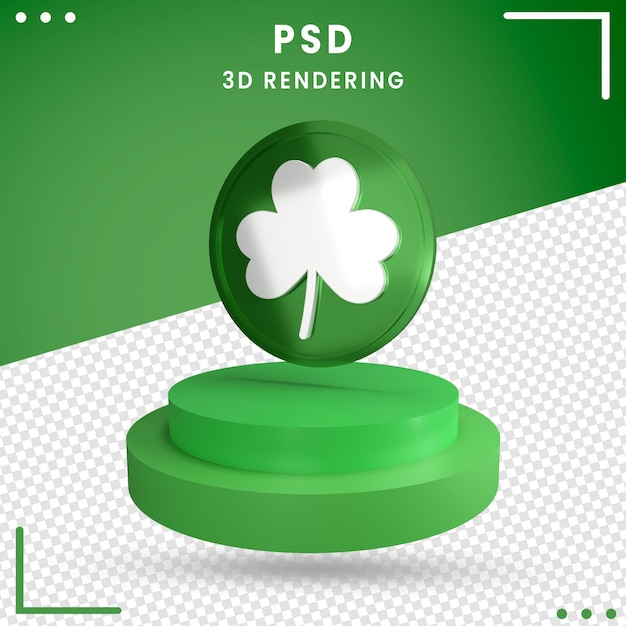 3d grün gedrehter st. patrick's day isoliert Premium PSD