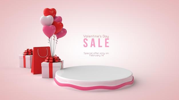 3d illustration des valentinstag-podium-modells Premium PSD