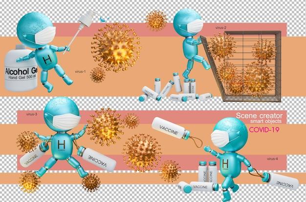 3d-illustration von menschen, die das koronavirus bekämpfen Premium PSD