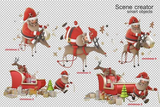 3d illustration weihnachtstag mit weihnachtsmann Premium PSD