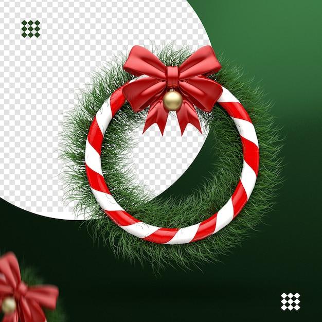 3d kranz mit bogen und weihnachtsball für komposition Premium PSD