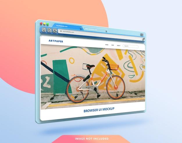 3d-modell der webbrowser-benutzeroberfläche mit pastellfarbe Premium PSD