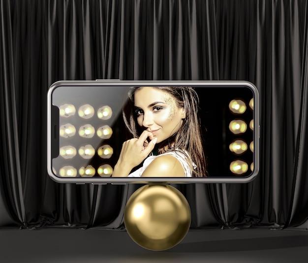 3d-modell-smartphone auf einem goldenen ball Kostenlosen PSD