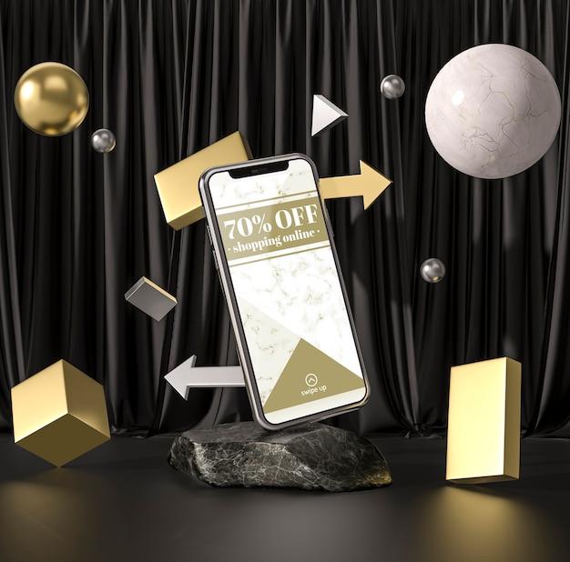 3d-modell-smartphone mit bällen und würfeln Kostenlosen PSD