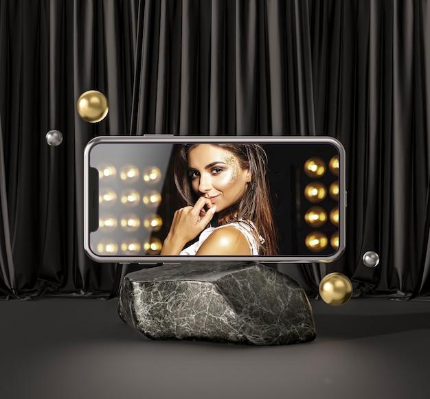 3d-modell-smartphone mit modefrau Kostenlosen PSD