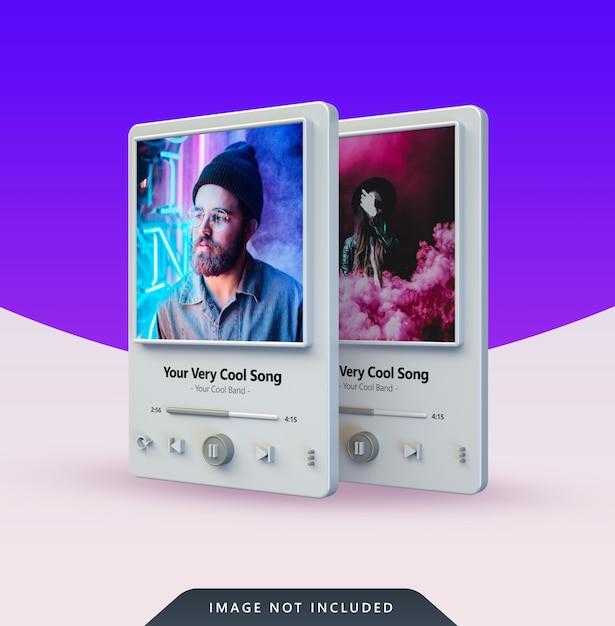 3d music player design für social media post Premium PSD