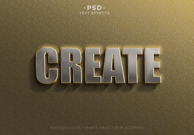 3d realistische goldene silberne texteffektschablone Premium PSD