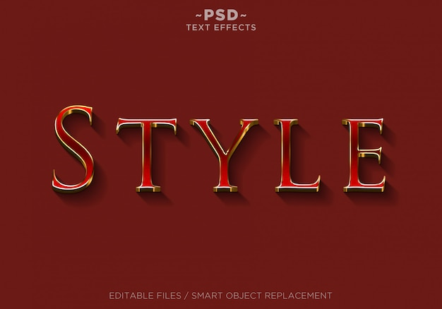 3d red style effects bearbeitbarer text Premium PSD