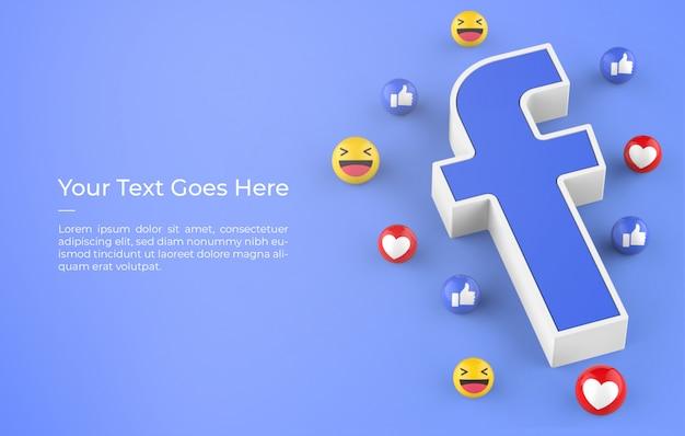 3d-rendering des facebook-logos mit emoji-reaktionsdesign-modell Premium PSD