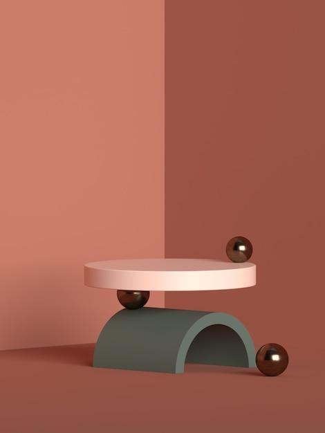 3d-rendering des podiums der abstrakten szenengeometrieform für die produktanzeige Premium PSD