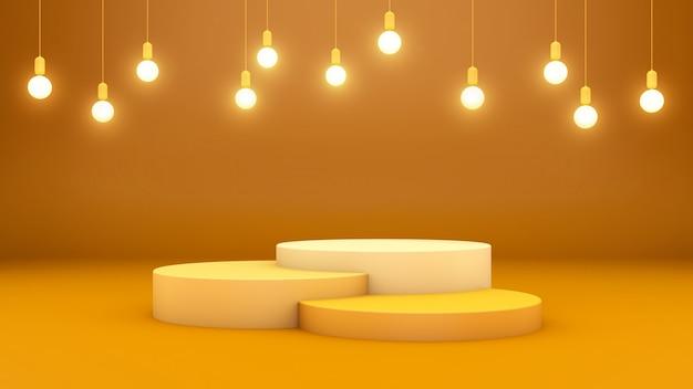 3d-rendering von drei podien und hängenden lichtern auf einem gelben raum für produktpräsentation Premium PSD