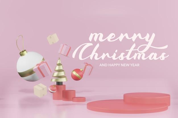3d-rendering weihnachten leeres podium modell Premium PSD
