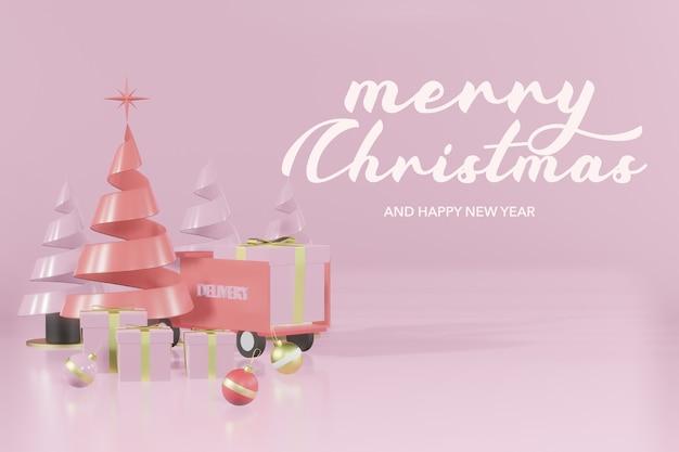 3d-rendering weihnachtspodest modell online-shopping Premium PSD