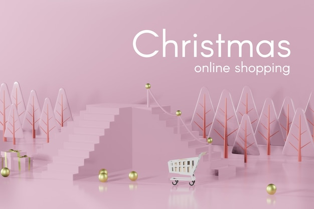 3d-rendering-weihnachtspodestmodell für produktplatzierung Premium PSD