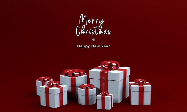3d rendern geschenkbox für frohe weihnachten Kostenlosen PSD