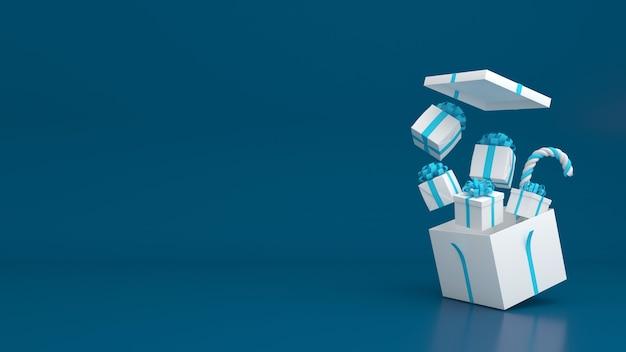 3d rendern geschenkbox pastellfarbe frohe weihnachten und ein gutes neues jahr modell Premium PSD