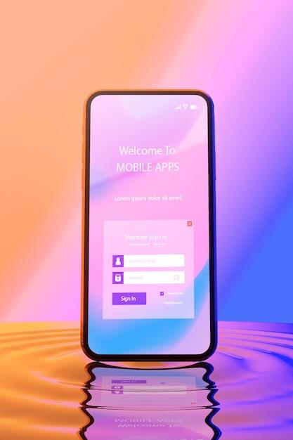 3d smartphone mit wassereffekt Kostenlosen PSD