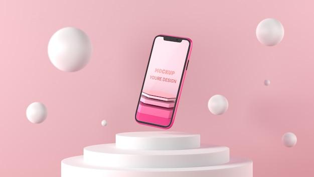 3d-smartphone-modell auf weißem sockel Premium PSD