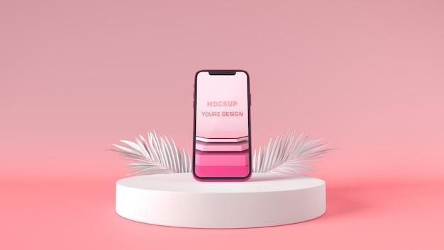 3d-smartphone-modellständer auf weißem sockel Premium PSD