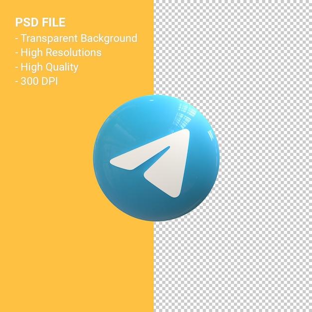3d-symbol-rendering des telegrammlogos isoliert Premium PSD