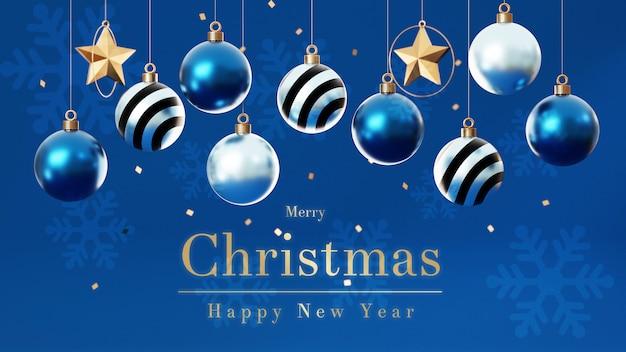 3d weihnachtskugeln mit weihnachtsbaum Premium PSD