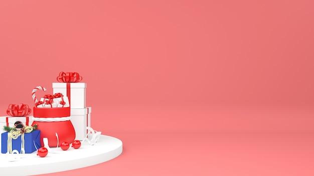 3d weihnachtstasche mit geschenkhaufen lokalisiert Premium PSD