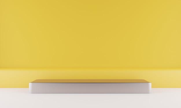 3d-wiedergabe des podiums der geometrischen formen auf dem boden Premium PSD