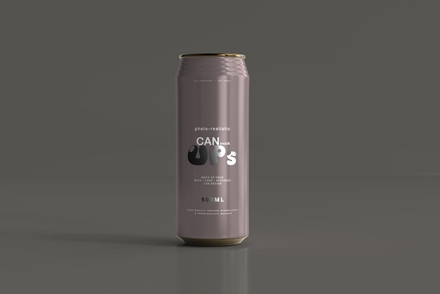 500ml sleek soda can mockup Kostenlosen PSD
