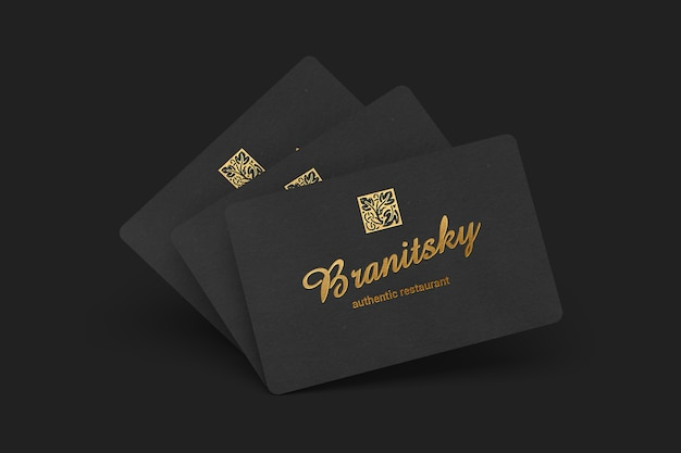 85x55 Schwarzes Visitenkarte Modell Premium Psd Datei