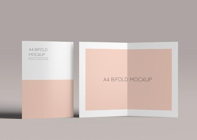 A4 bifold brochure mockups Premium PSD