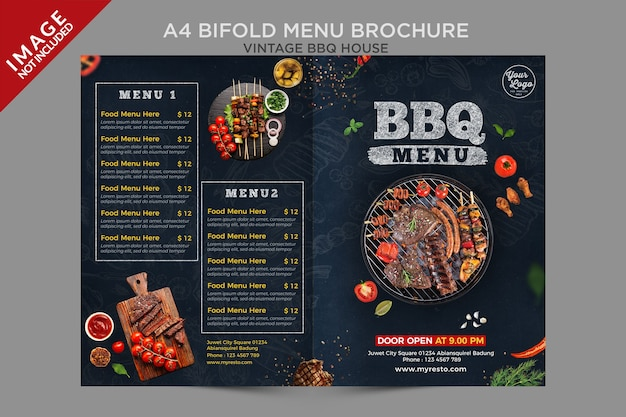 A4 vintage bbq house bifold housemenu broschürenserie Premium PSD