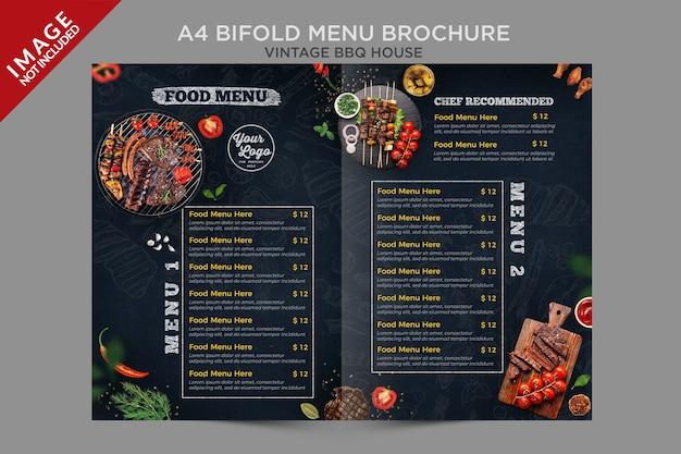 A4 vintage bbq house bifold menü broschüre serie Premium PSD