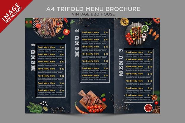 A4 vintage bbq house trifold menü broschüre serie Premium PSD