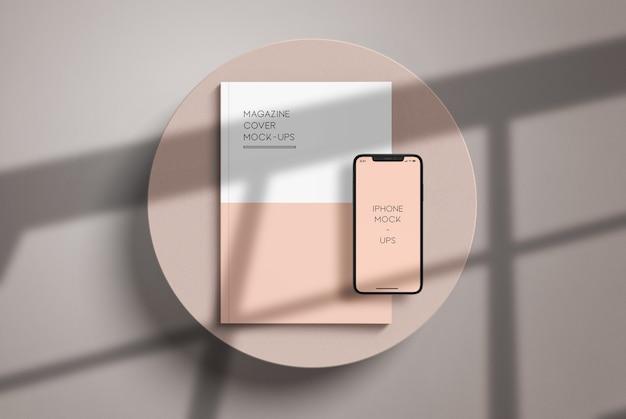 A4 zeitschriften cover mit iphone mockup Premium PSD