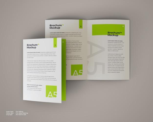 A5 bifold-broschürenmodell, das offen und geschlossen ist Premium PSD