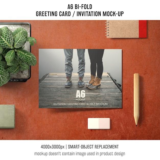 A6 zweifacher einladungskarte-modellentwurf Kostenlosen PSD