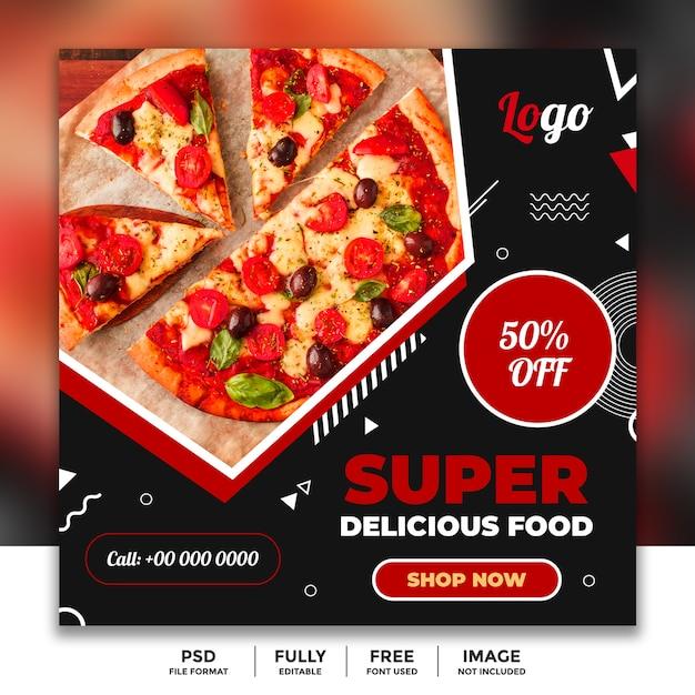 Abendessen-verkaufs-social media-fahnen-schablone für restaurant Premium PSD
