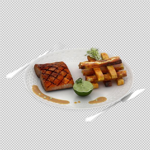 Abendessenplatte 3d übertragen Premium PSD