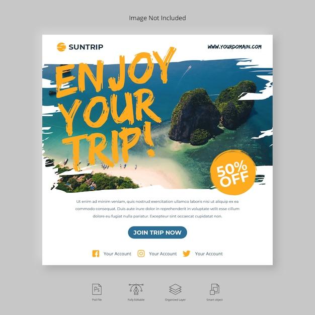 Abenteuerreise oder reise instagram post social media banner quadratischer flyer pinsel Premium PSD