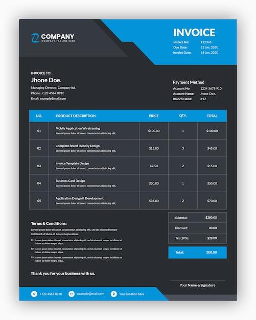 Abstrakte dunkle mit blauem geschäftsrechnungsschablonendesign Premium PSD