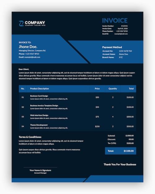 Abstrakte dunkle mit blauer farbe unternehmensgeschäftsrechnungsschablone Premium PSD