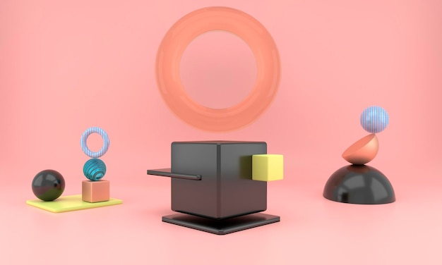 Abstrakte geometrische formen der produktanzeige mit minimalen und modernen konzepten Premium PSD