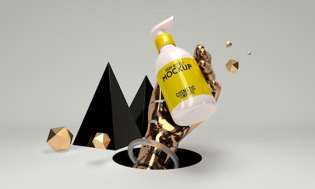 Abstrakte kosmetische schablonenflaschenseife 3d machen modell Premium PSD